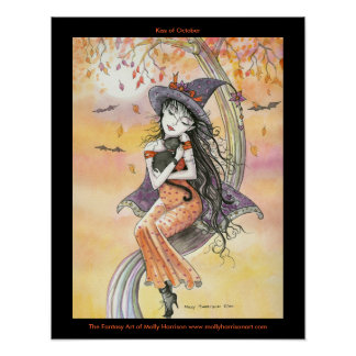 Gothic Halloween Witch Cat Poster