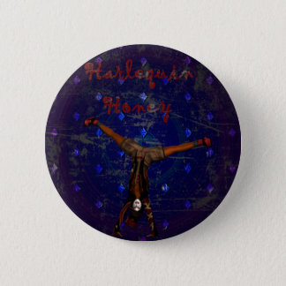 GOTHIC HARLEQUIN CLOWN ON PURPLE 6 CM ROUND BADGE