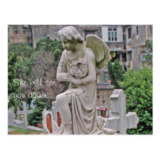 Gothic Headstone woman holding a wreath Post Card