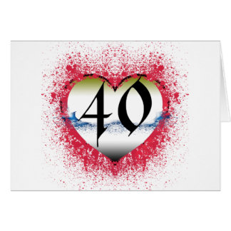 Gothic Heart 40th Greeting Card
