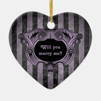 Gothic heart black and purple marriage proposal ornaments