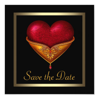 Gothic Heart Black Wedding Save The Date 13 Cm X 13 Cm Square Invitation Card