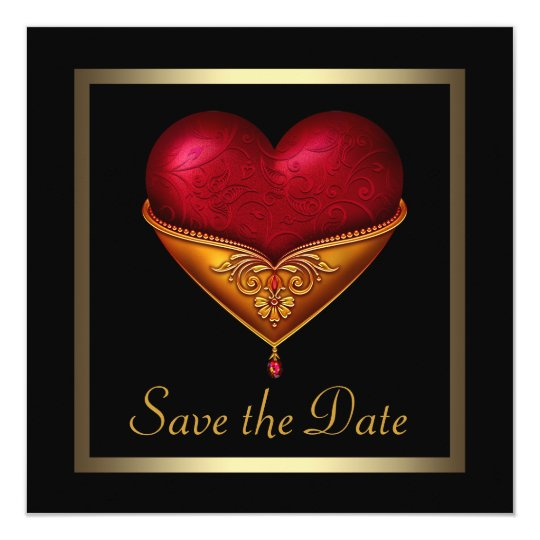 Gothic Heart Black Wedding Save The Date Card