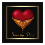 "Gothic Heart Black Wedding Save The Date 5.25"" Square Invitation Card"