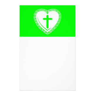 Gothic Heart + Cross (Green + White) Personalized Stationery