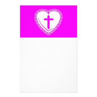 Gothic Heart + Cross (Pink + White) Personalized Stationery