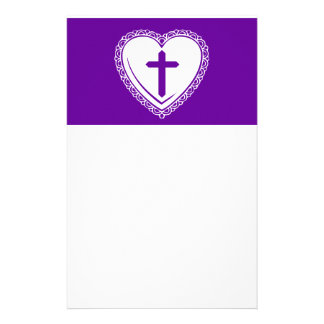 Gothic Heart + Cross (Purple + White) Customised Stationery
