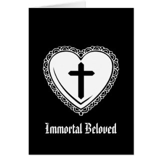 Gothic Heart Cross Valentine Greeting Card