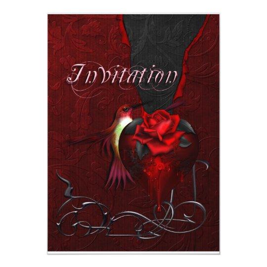 Gothic Heart & Hummingbird Card