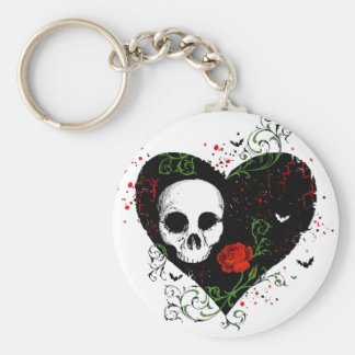 Gothic heart key chain
