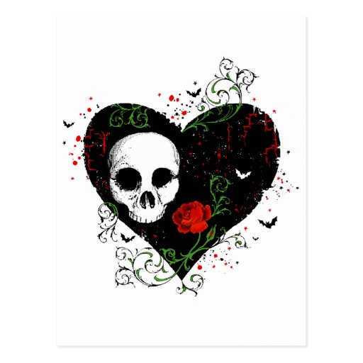 Gothic heart post cards