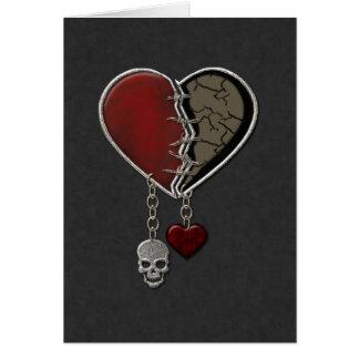 Gothic Heart with Skull - Greeting Card