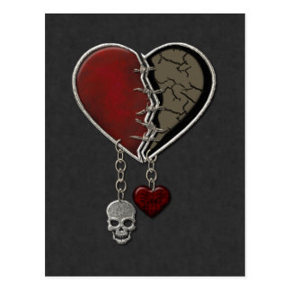Gothic Heart with Skull - Postcard