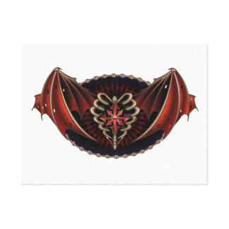 Gothic Heart With Wings Tattoo Design Gallery Wrap Canvas