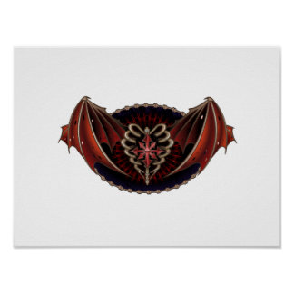 Gothic Heart With Wings Tattoo Design Poster