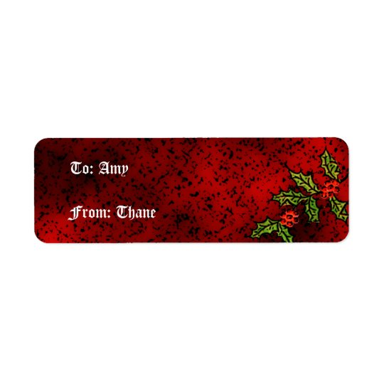 Gothic Holly Christmas Present Label Return Address Label