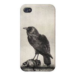 Gothic Horror Case The Raven and Skulls iPhone 4/4S Covers
