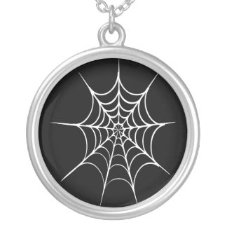 Gothic Horror Spider Web Sterling Silver Necklace