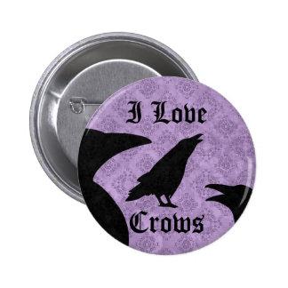 Gothic I Love Crows black and purple 6 Cm Round Badge