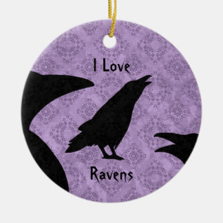 Gothic I Love Ravens Christmas Ornament