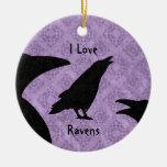 Gothic I Love Ravens Ornament