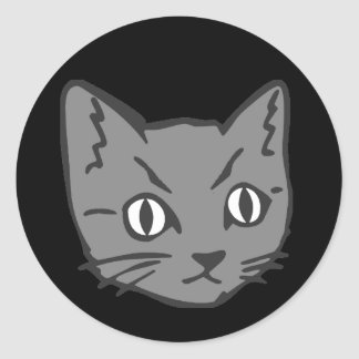 Gothic Kitty Cat Face Classic Round Sticker