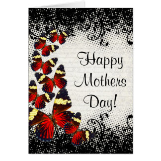 Gothic lace butterfly mothers day card