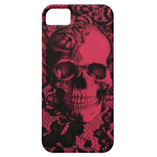 Gothic lace skull in red and black iPhone 5 cases