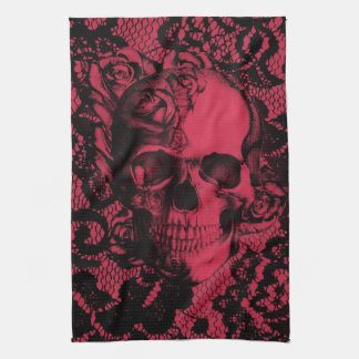 Gothic lace skull in red and black tea towel
