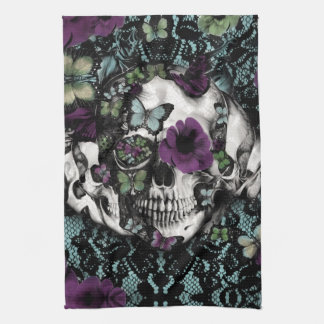 Gothic lace skull in teal and purple hand towel