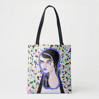Gothic Lady on Colourful Background Tote Bag
