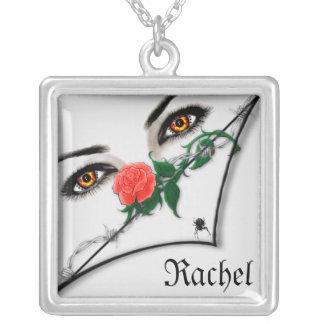 Gothic Lady Peeking Over Halloween Necklaces