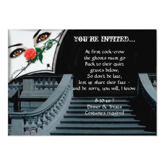 """Gothic Lady Peeking Over Staircase Halloween Party 5"""" X 7"""" Invitation Card"""