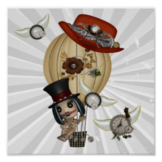 gothic laveau hot air balloon steampunk art poster