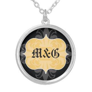 Gothic letter monogram initial yellow black emblem round pendant necklace