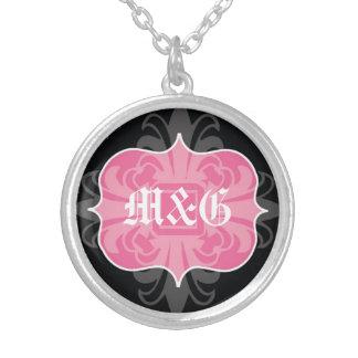 Gothic letter monogram initials pink black emblem round pendant necklace