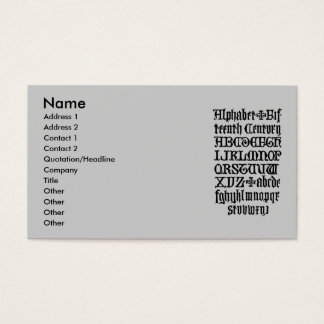 Gothic Letters Business Card
