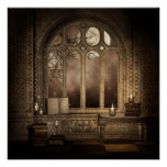 Gothic Library Window Poster