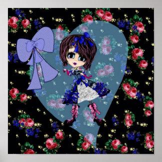 Gothic Lolita Blue dress Gothloli personalized Print