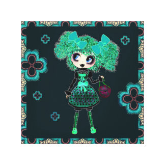 Gothic Lolita child emerald and black Stretched Canvas Prints