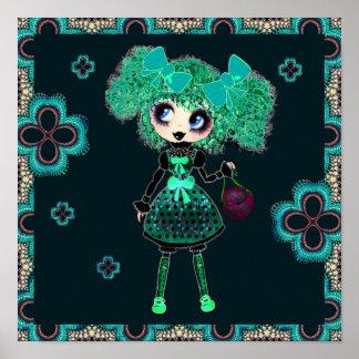 Gothic Lolita child emerald and black Poster