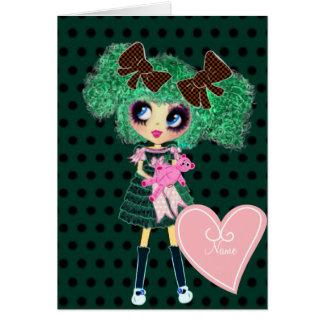 Gothic Lolita girl emerald girly gifts Greeting Card