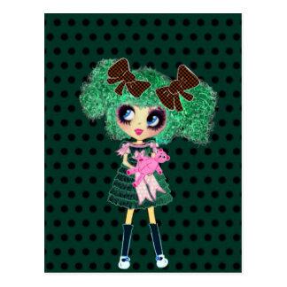 Gothic Lolita girl emerald girly gifts Postcard