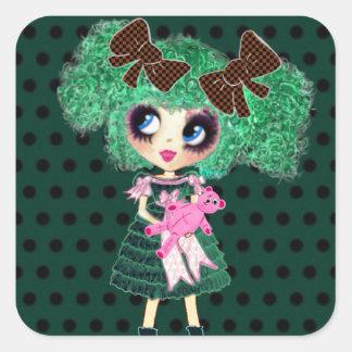 Gothic Lolita girl emerald girly gifts Square Sticker