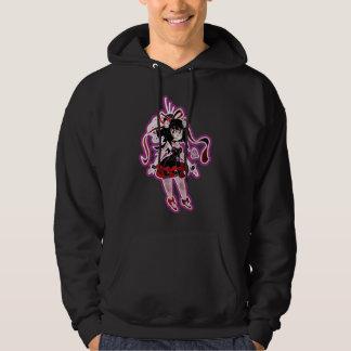 Gothic Lolita Girl Magenta Outline Hooded Pullover
