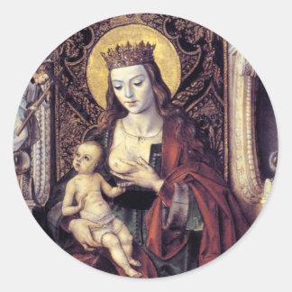 Gothic Madonna and Child Round Sticker