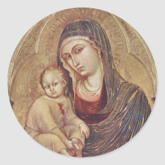 Gothic Madonna and Child Classic Round Sticker