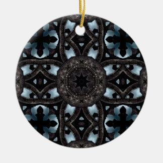 Gothic medieval crosses and medallions round ceramic decoration