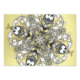 Gothic Medieval Flower Motif Black White and Gold 13 Cm X 18 Cm Invitation Card