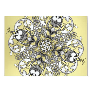 """Gothic Medieval Flower Motif Black White and Gold 4.5"""" X 6.25"""" Invitation Card"""